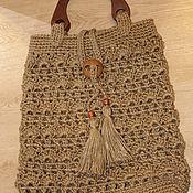 Сумки и аксессуары handmade. Livemaster - original item Jute bag with wooden handles .large. Handmade.