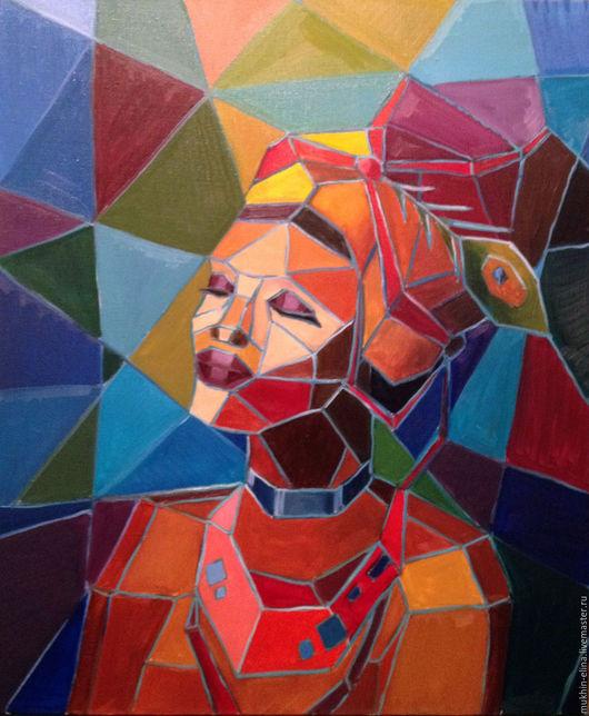 Люди, ручной работы. Ярмарка Мастеров - ручная работа. Купить Кубинка (аналитический кубизм). Handmade. Комбинированный, девушка, кубизм, яркий