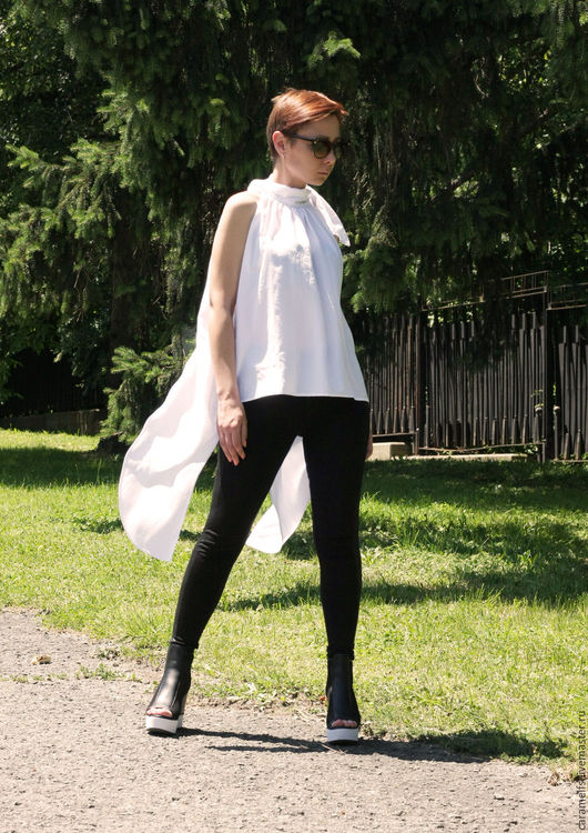 Блузки ручной работы. Ярмарка Мастеров - ручная работа. Купить Белая элегантная блузка. Handmade. Белый, модная рубашка, хлопок
