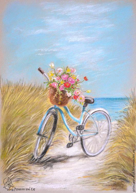 Пейзаж ручной работы. Ярмарка Мастеров - ручная работа. Купить Море, солнце, велосипед.... Handmade. Голубой, пляж, цветы
