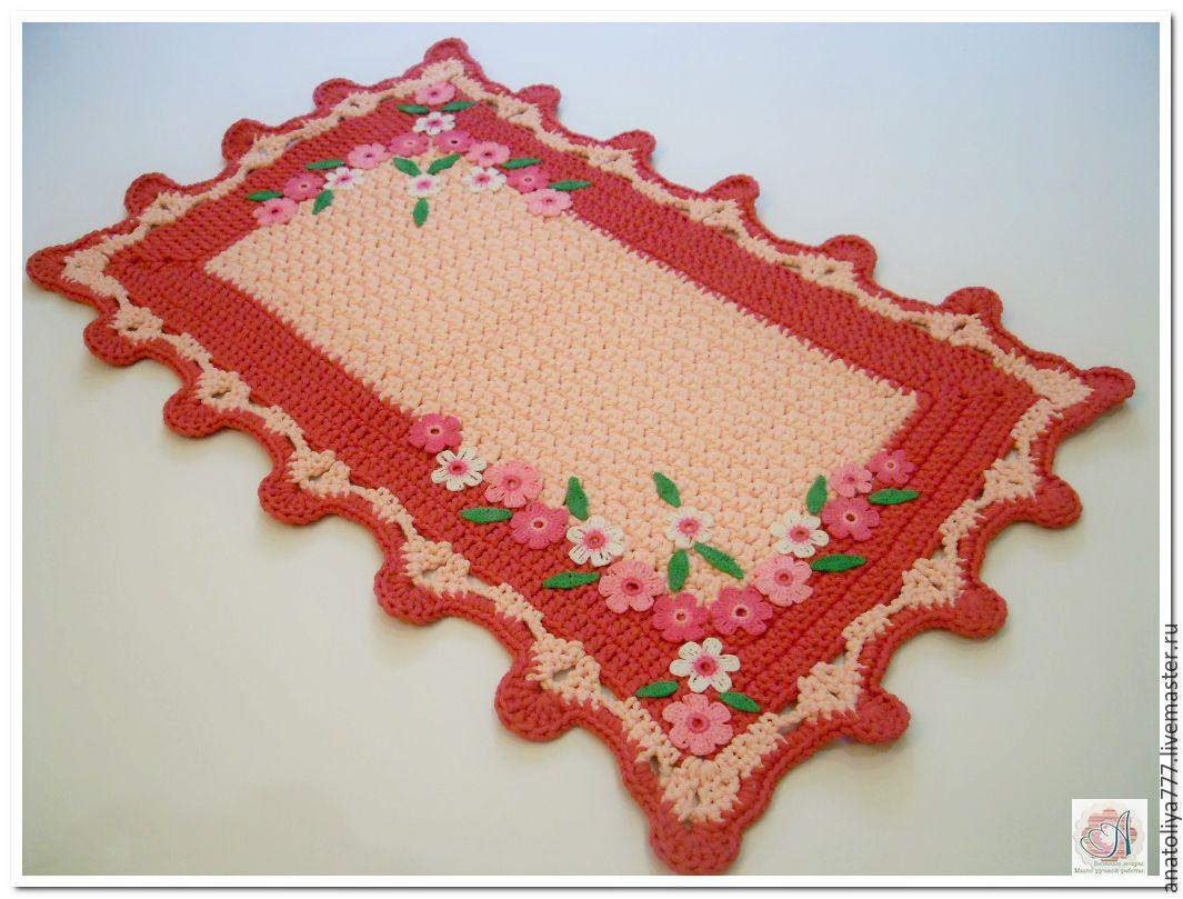 Bathroom handmade. Livemaster - handmade. Buy Mat - rug knitted cord Floral.Pink, carpet, rug handmade