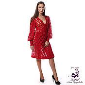 """Одежда ручной работы. Ярмарка Мастеров - ручная работа Платье-пальто вязаное """"Рубиновые волны"""" из мягкого итальянского мохера. Handmade."""