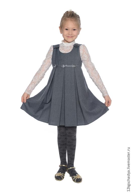 Одежда для девочек, ручной работы. Ярмарка Мастеров - ручная работа. Купить Школьный сарафан. Handmade. Серый, сарафан для девочки