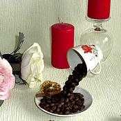 """Цветы и флористика ручной работы. Ярмарка Мастеров - ручная работа Кофейная парящая  чашка"""" С Добрым утром"""" коричневый , белый. Handmade."""