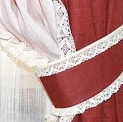 Для дома и интерьера ручной работы. Ярмарка Мастеров - ручная работа Льняные шторы Бордо и беж с кружевами. Handmade.
