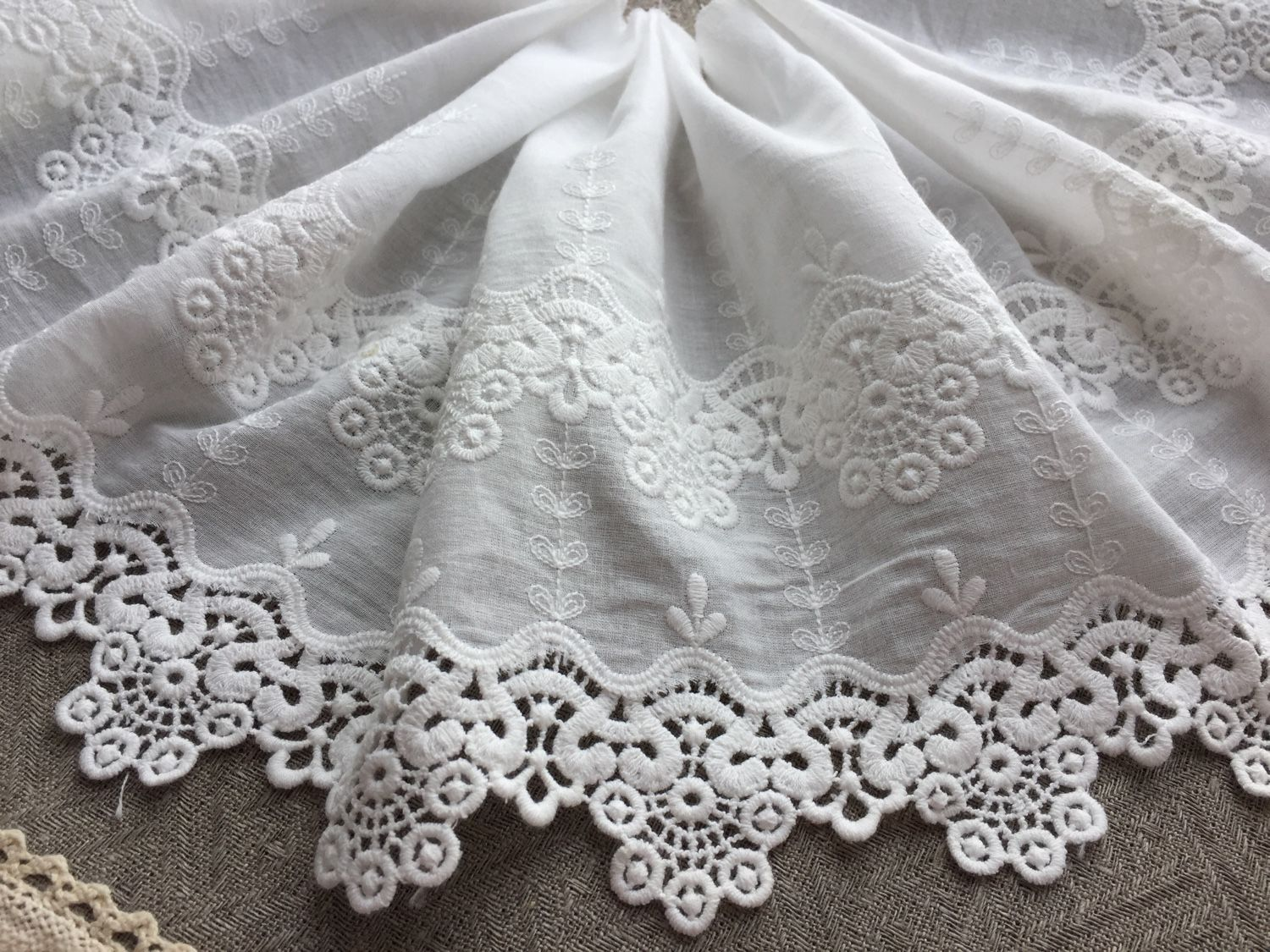 Sewing handmade. Livemaster - handmade. Buy Sewing on Batiste's 'Magnificent' wide.20 cm.Lace, lace for dress