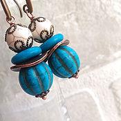 Украшения handmade. Livemaster - original item Earrings turquoise pumpkin)))))). Handmade.