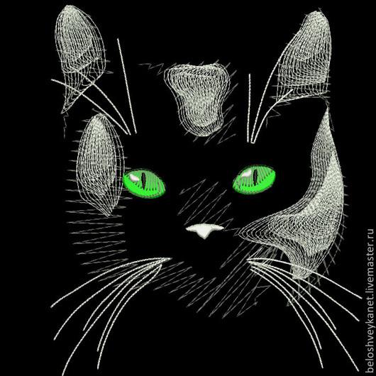 Вышивка ручной работы. Ярмарка Мастеров - ручная работа. Купить Лунный кот - файл для вышивания. Handmade. Белый, машинный код