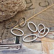 Материалы для творчества handmade. Livemaster - original item Connector ring oval 13x7x1 mm rhodium (3499). Handmade.