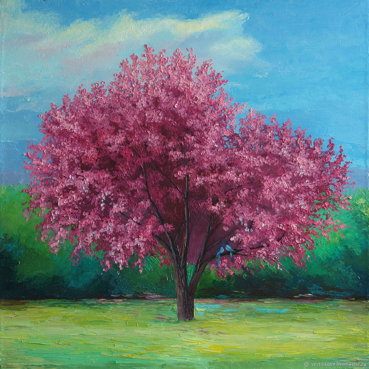 Painting cherry Blossoms, oil on canvas, Pictures, Moscow,  Фото №1