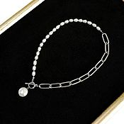 Украшения handmade. Livemaster - original item Asymmetric combination necklace with pearls. Handmade.