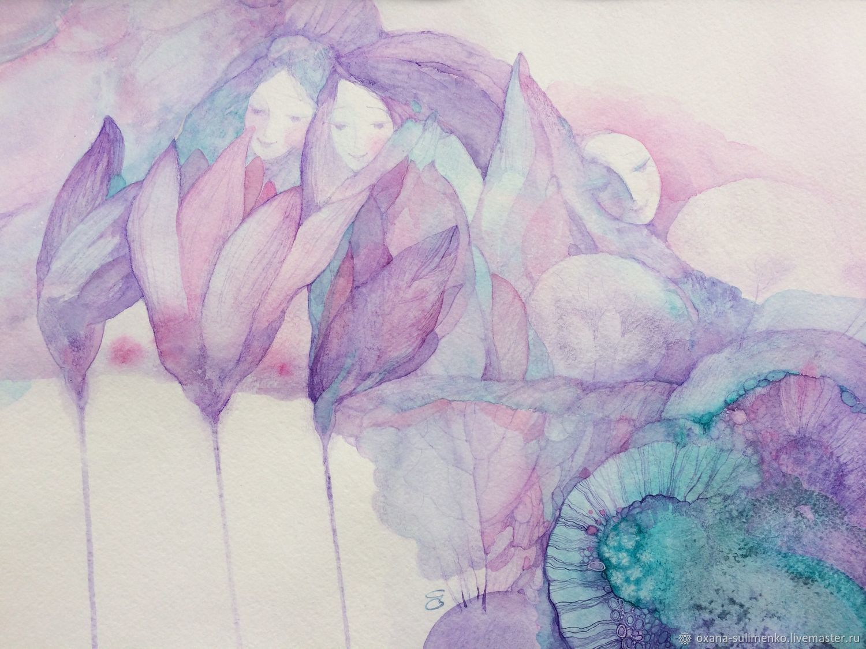 Картина Цветы Души пробуждение любви. Авторская акварель, Картины, Краснодар, Фото №1