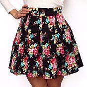 Одежда ручной работы. Ярмарка Мастеров - ручная работа Дизайнерская юбка в складку с цветочным принтом. Handmade.