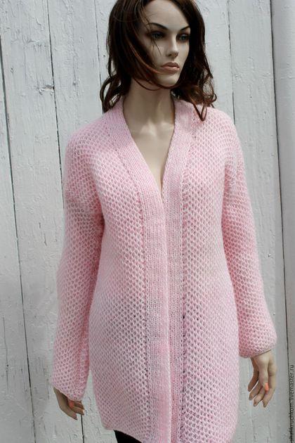 Кофты и свитера ручной работы. Ярмарка Мастеров - ручная работа. Купить Вязаный  кардиган Соты ручной работы бледно-розовый. Handmade.