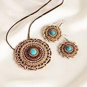 Украшения handmade. Livemaster - original item Birch bark jewelry set with turquoise. Pendant and earrings.. Handmade.