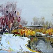 Картины и панно handmade. Livemaster - original item Oil painting First snow. Handmade.
