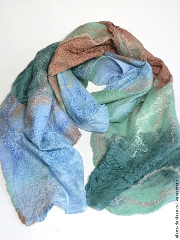 scarf felted Mint tenderness, Scarves, Barnaul,  Фото №1