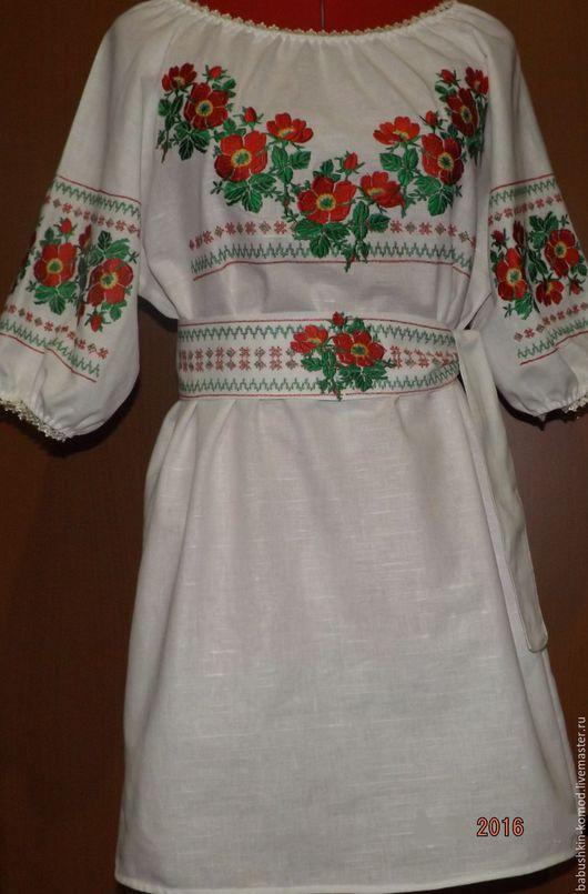 Платья ручной работы. Ярмарка Мастеров - ручная работа. Купить Вышитое платье  ЖП3-056. Handmade. Белый, вышитые цветы