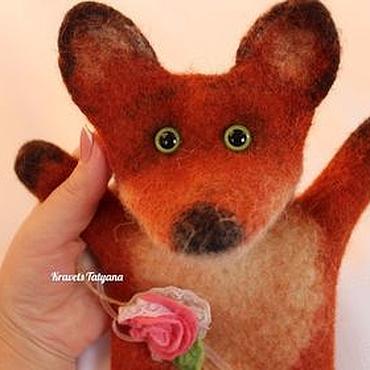 """Куклы и игрушки ручной работы. Ярмарка Мастеров - ручная работа Валяная кукла перчатка """"бибабо""""  Лисичка. Handmade."""
