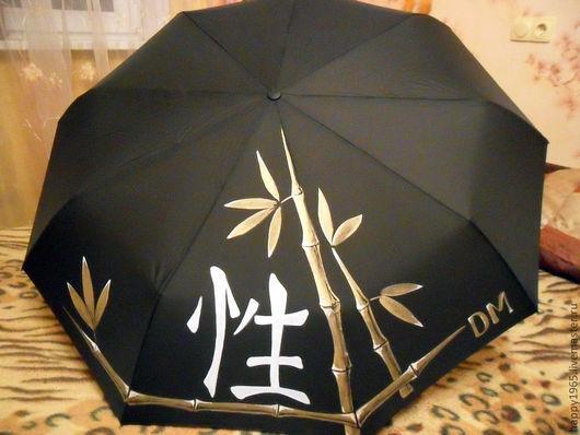 """Зонты ручной работы. Ярмарка Мастеров - ручная работа. Купить Зонт ручной росписи """"Иероглиф"""". Handmade. Черный, зонт с росписью"""
