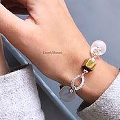 handmade. Livemaster - original item Bracelet white and gold rhinestone / hematite stylish beautiful. Handmade.