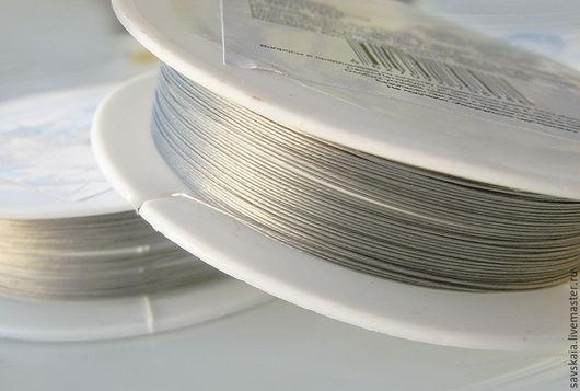 Проволока металл с нейлоновым покрытием, цвет серебро, 0.3 мм, 10 м, для украшений