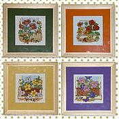 Картины и панно handmade. Livemaster - original item Cross stitch Floral balconies. Handmade.