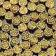 Бусины металлические Таблеточки литые формы диск диаметром 6 мм с этническим орнаментом и покрытием античное золото для сборки украшений комплектами по 10 бусин