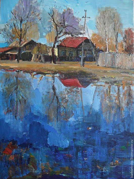 """Пейзаж ручной работы. Ярмарка Мастеров - ручная работа. Купить """"Отражения"""". Handmade. Озеро, отражения, деревня, весна, разлив, акрил"""
