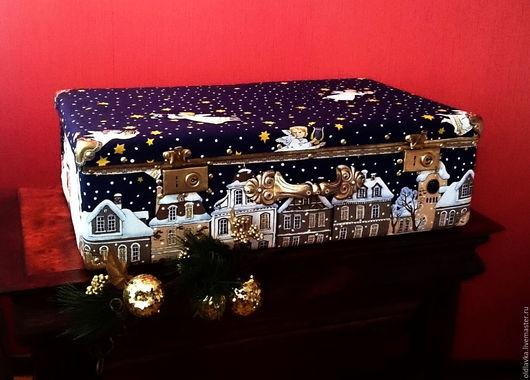 """Чемоданы ручной работы. Ярмарка Мастеров - ручная работа. Купить Чемодан """"Рождество"""" для новогодних игрушек. Handmade. Тёмно-синий, чемодан"""