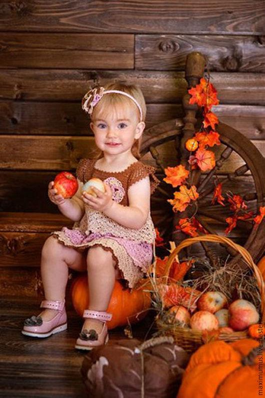 Одежда для девочек, ручной работы. Ярмарка Мастеров - ручная работа. Купить Комплект платье и летняя шапочка. Handmade. Кремовый