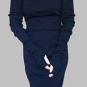 Аксессуары ручной работы. Ярмарка Мастеров - ручная работа Митенки-рукава черные вязаные эластичные под жилет. Handmade.
