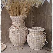 Для дома и интерьера ручной работы. Ярмарка Мастеров - ручная работа Набор интерьерных плетеных ваз. Handmade.