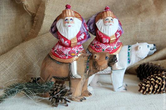 Новый год 2017 ручной работы. Ярмарка Мастеров - ручная работа. Купить Дед Мороз на медведе (резные, расписные деревянные игрушки). Handmade.
