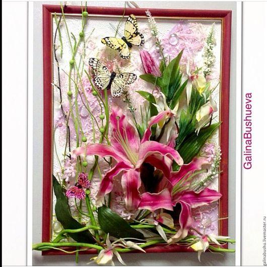 """Картины цветов ручной работы. Ярмарка Мастеров - ручная работа. Купить """"Летний день"""" флористический коллаж с латексными лилиями. Handmade."""
