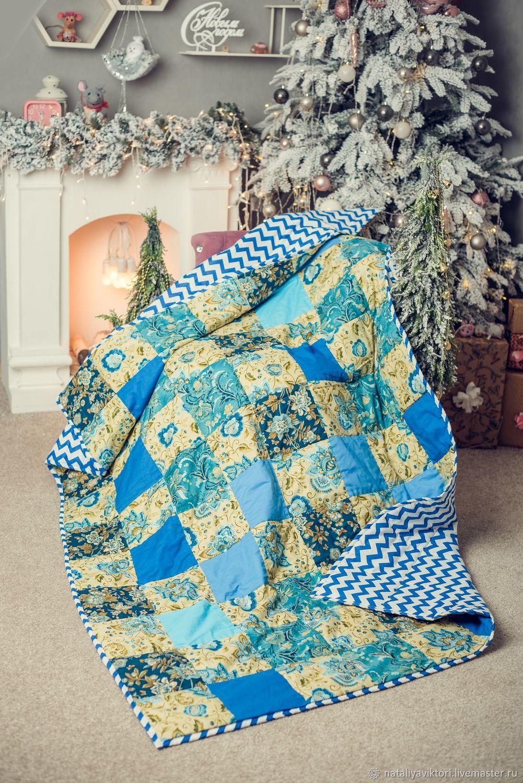 Одеяло пэчворк в синих тонах. По мотивам Диковинные Цветы, Одеяла, Новотроицк,  Фото №1