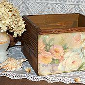 """Для дома и интерьера ручной работы. Ярмарка Мастеров - ручная работа """"Акварельные розы"""" Большой короб. Handmade."""