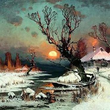 """Картины и панно ручной работы. Ярмарка Мастеров - ручная работа Картина """"Пейзаж. Зима. Закат"""". Handmade."""