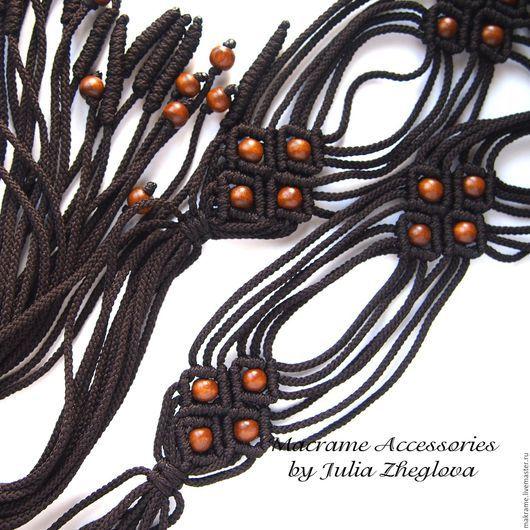 """Пояса, ремни ручной работы. Ярмарка Мастеров - ручная работа. Купить Плетеный пояс """"Ромбы"""" с кистями, тёмно-коричневый, макраме. Handmade."""