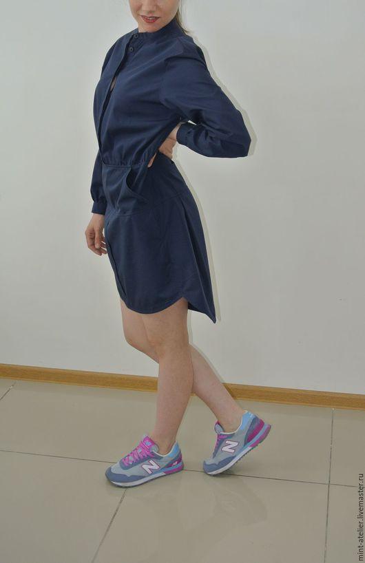 Платья ручной работы. Ярмарка Мастеров - ручная работа. Купить Платье- рубашка. Handmade. Тёмно-синий, спортивный стиль, хлопок