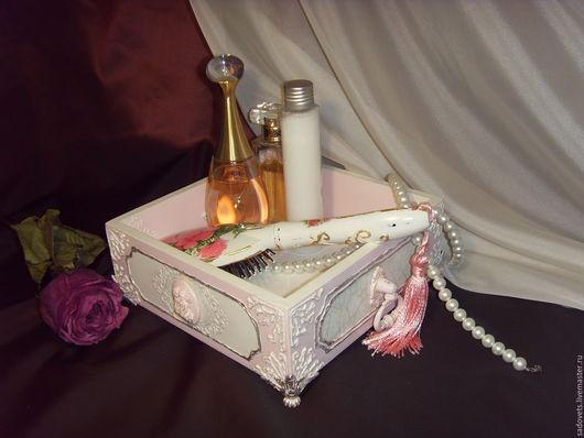 Корзины, коробы ручной работы. Ярмарка Мастеров - ручная работа. Купить Короб розовый декупаж для парфюма, косметики, для ванной комнаты. Handmade.