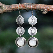 Украшения handmade. Livemaster - original item Full Moon silver earrings, moonstone. Handmade.