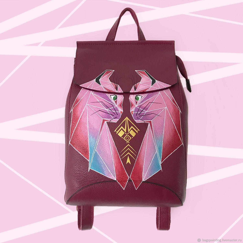 Кожаный рюкзак из натуральной кожи с ручной росписью Влюбленные коты