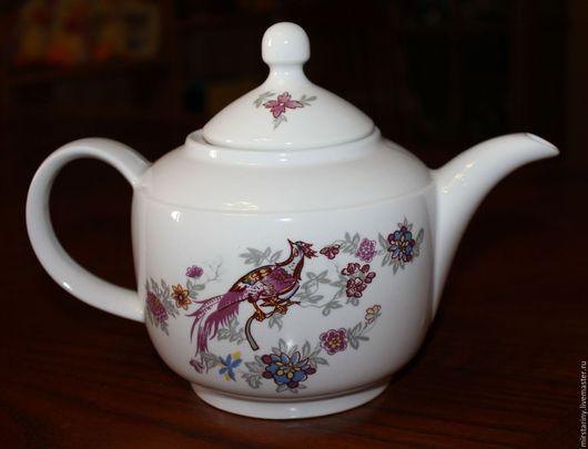 """Винтажная посуда. Ярмарка Мастеров - ручная работа. Купить Красивый заварочный чайник """"Павлин""""(Райская птица), KAHLA, Германия. Handmade. Сиреневый"""