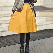 Одежда handmade. Livemaster - original item The bell skirt of eco-leather. Handmade.