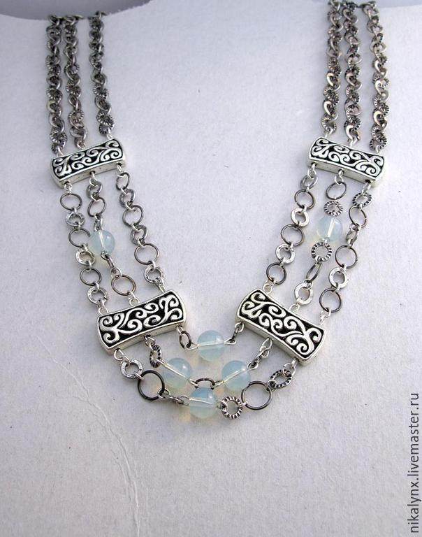 """Metallic chained necklace with moonstone """"Narbonne"""", Necklace, St. Petersburg,  Фото №1"""