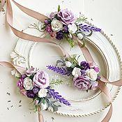 Браслеты ручной работы. Ярмарка Мастеров - ручная работа Браслет для подружек невесты с сиреневыми цветами в стиле прованс. Handmade.