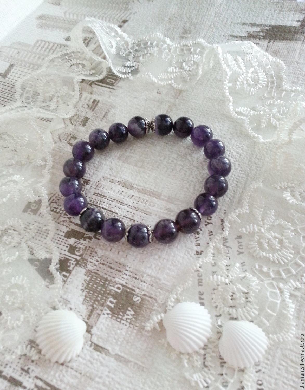 Bracelet Amethyst charm bracelet, Bead bracelet, Moscow,  Фото №1