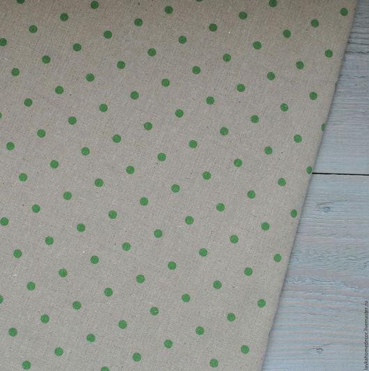 Лен небеленый Горох зеленый,, 50х50см, 0704