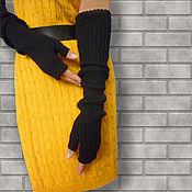 Аксессуары ручной работы. Ярмарка Мастеров - ручная работа Митенки-рукава длинные вязаные эластичные черные рукава. Handmade.